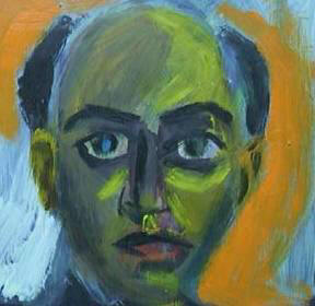 Self-portrait made in 1988 - After resigning from University of Durban-Westville. In possession of parents.