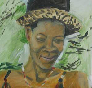 Mbali a few months before death - Painted 2001, in Gillespie Street, Durban, in possession of Johan van Wyk